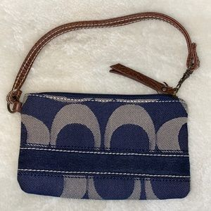 Coach denim wristlet